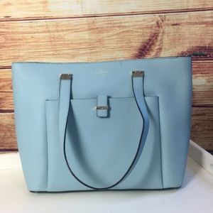 Kate Spade Light Blue Pebble Leather Zip Tote Bag